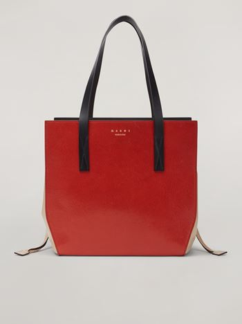 Marni GUSSET shopping bag in grained calf and nappa Woman f