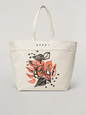 Marni HARLEM bag in canvas Jungle Liz print white Woman f