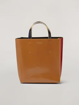 Marni MUSEO shopping bag in calf leather red brown and black Woman