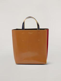 Marni Shopper MUSEO aus glänzendem Kalbsleder in Rot, Braun und Schwarz Damen