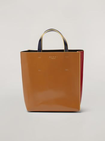 Marni MUSEO shopping bag in calf leather red brown and black Woman f