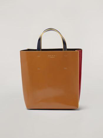 Marni Shopper MUSEO aus glänzendem Kalbsleder in Rot, Braun und Schwarz Damen f