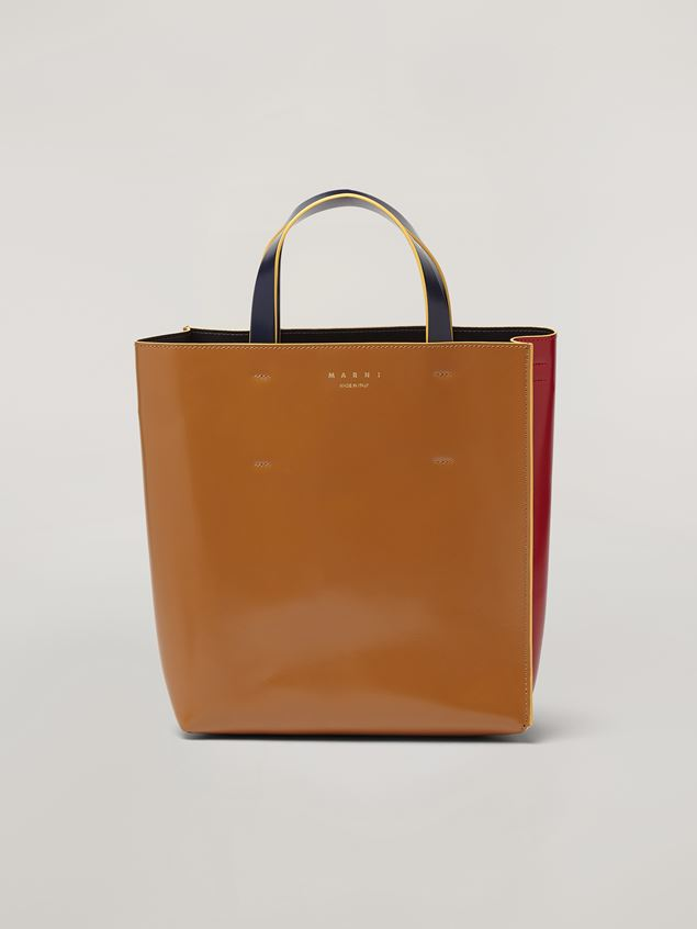 Marni MUSEO shopping bag in calf leather red brown and black Woman - 1