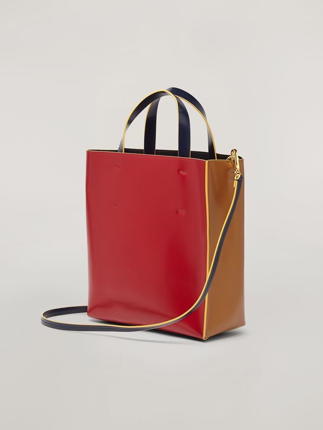 Marni MUSEO shopping bag in calf leather red brown and black Woman - 3