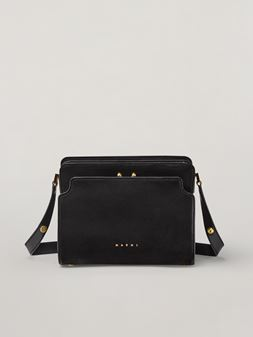 Marni TRUNK REVERSE shoulder bag in black nappa calfskin Woman