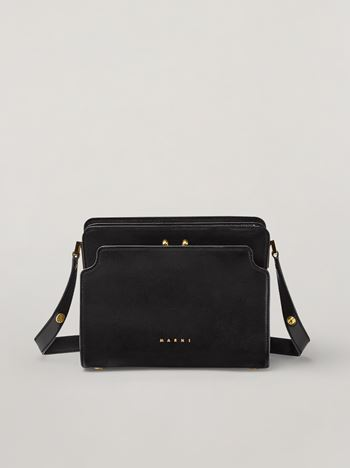 Marni TRUNK REVERSE shoulder bag in black nappa calfskin Woman f