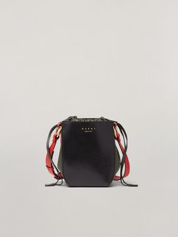 Marni GUSSET shoulder bag in calf and nappa black green and orange Woman