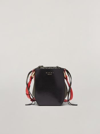 Marni GUSSET shoulder bag in calf and nappa black green and orange Woman f