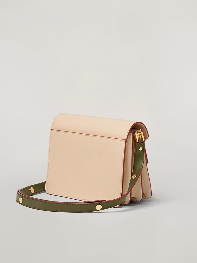 Marni TRUNK bag in smooth calf pink white and green Woman