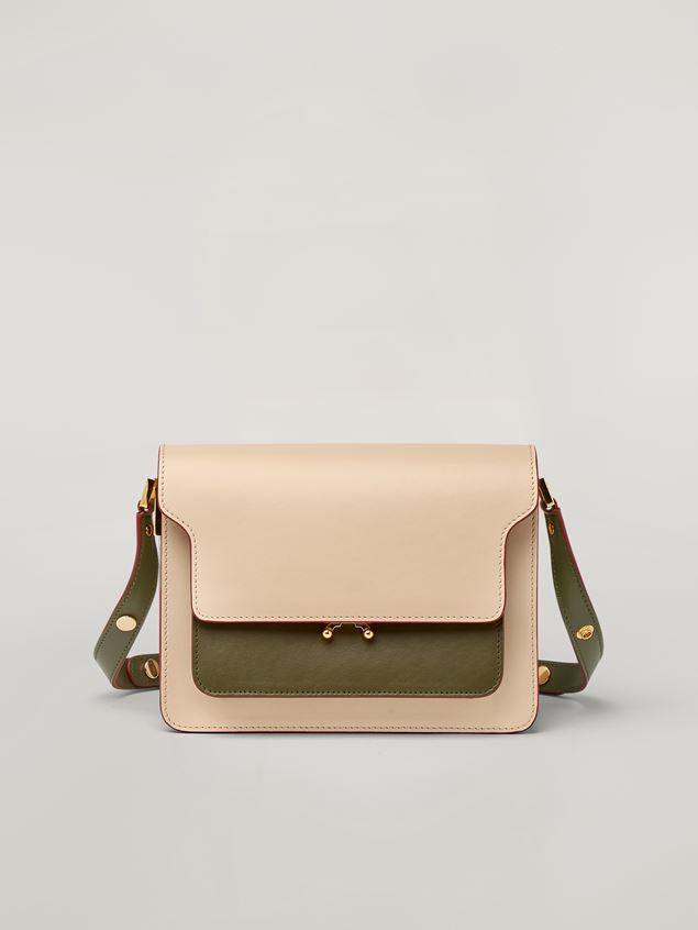Marni TRUNK bag in smooth calf pink white and green Woman - 1