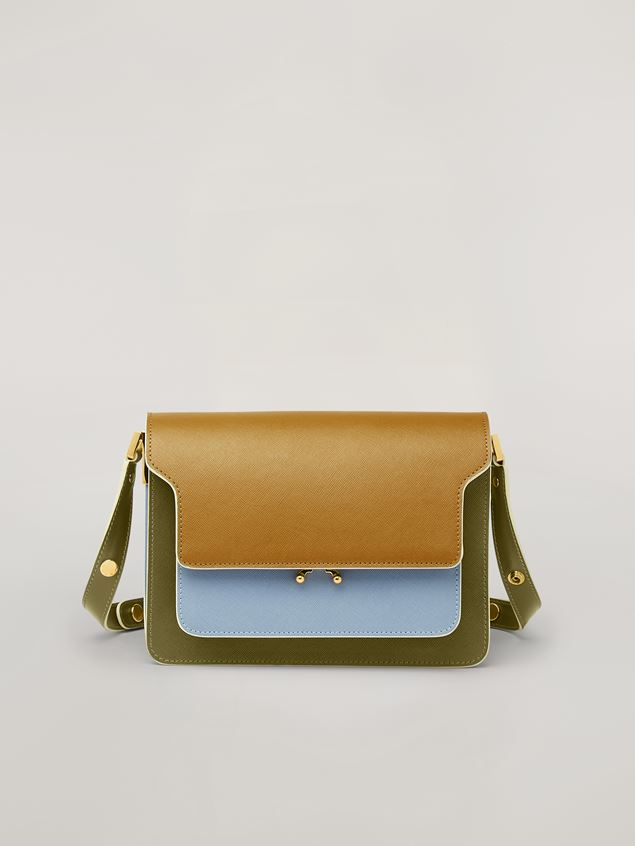 Marni TRUNK bag in smooth calf beige pale blue and green Woman - 1