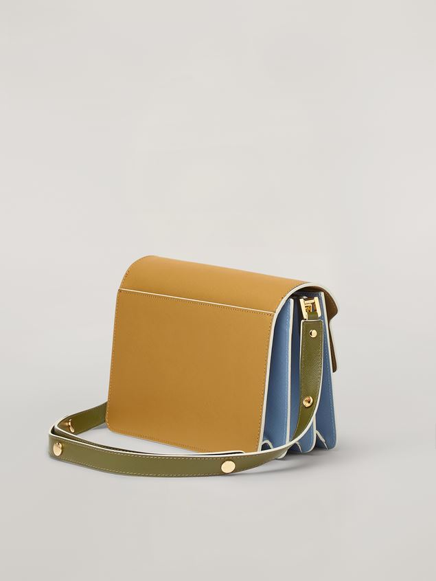 Marni TRUNK bag in smooth calf beige pale blue and green Woman - 3