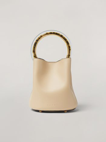 Marni PANNIER bag in calf leather with resin and metal handle white Woman f
