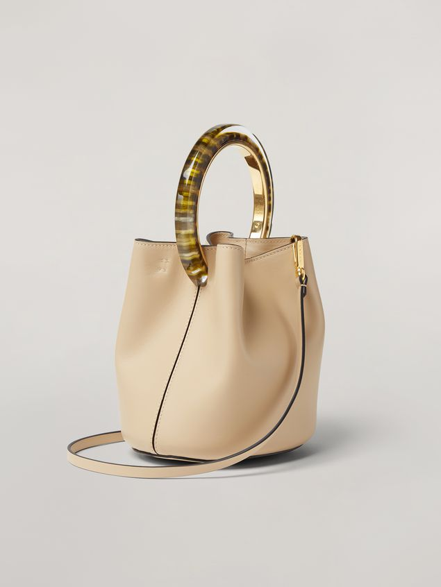 Marni PANNIER bag in calf leather with resin and metal handle white Woman