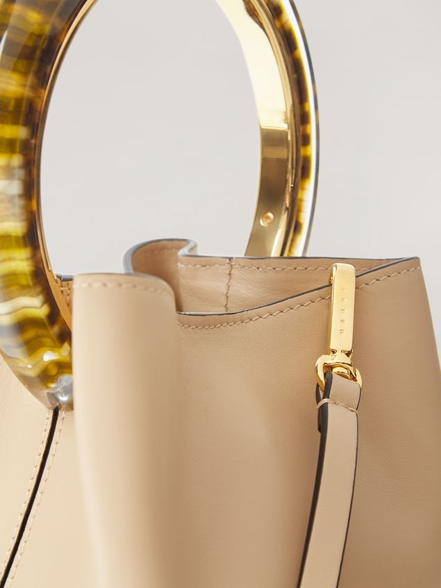 Marni PANNIER bag in calf leather with resin and metal handle white Woman - 4