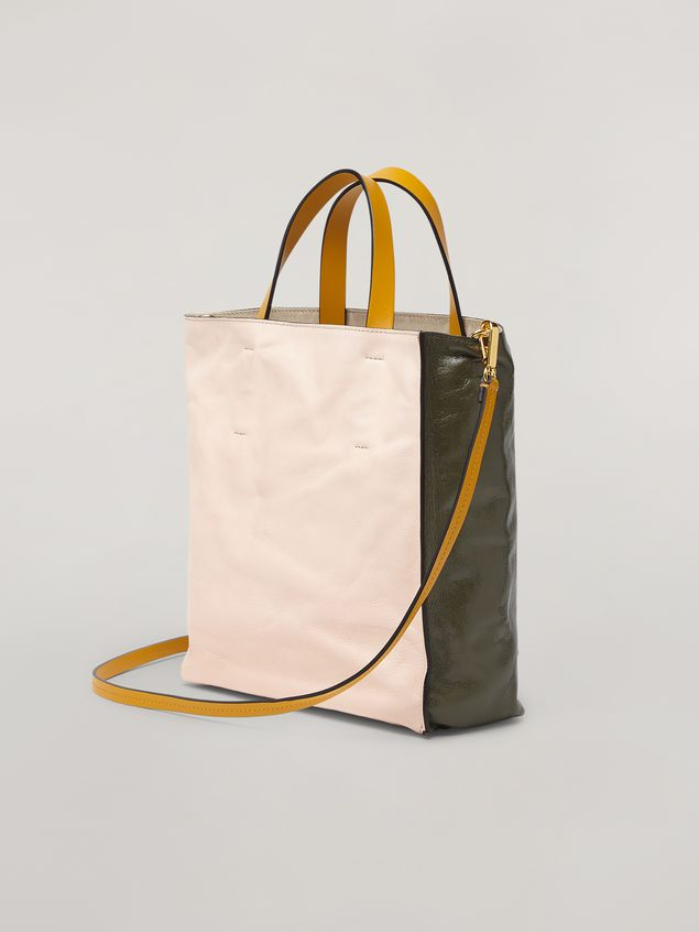 Marni MUSEO SOFT bag in calf leather green pink and yelllow Woman