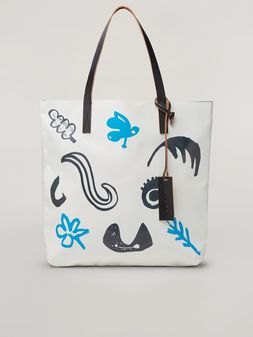 Marni Shopping bag in PVC Faces print beige and black Woman