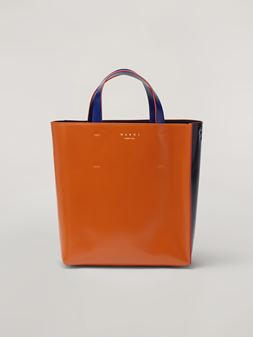 Marni MUSEO shopping bag in calf leather brown dark blue and cornflower blue Woman