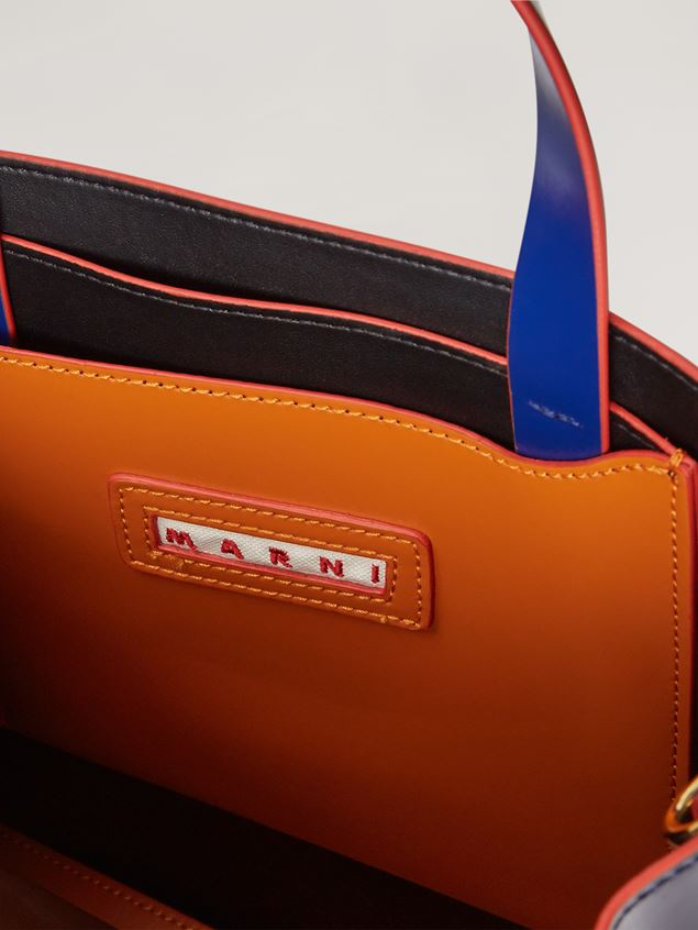 Marni MUSEO shopping bag in calf leather brown dark blue and cornflower blue Woman - 4