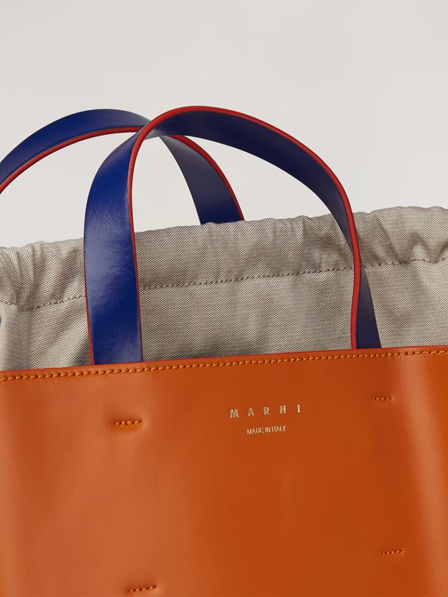 Marni MUSEO shopping bag in calf leather brown dark blue and cornflower blue Woman - 2