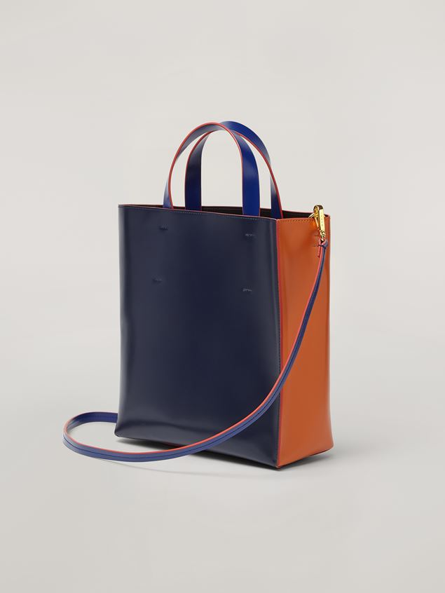 Marni MUSEO shopping bag in calf leather brown dark blue and cornflower blue Woman - 3