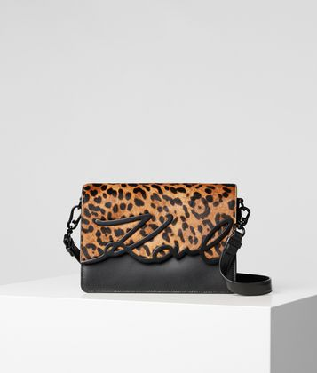 KARL LAGERFELD K/SIGNATURE LEOPARD SHOULDER BAG