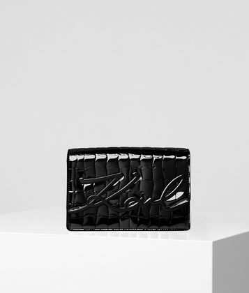KARL LAGERFELD K/SIGNATURE CROCO SHOULDER BAG