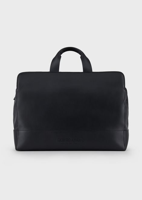 Leather duffel bag with monochromatic logo