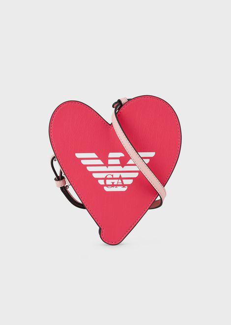 Heart-shaped shoulder bag with eagle