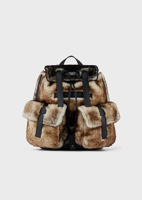 Sheepskin backpack with pockets
