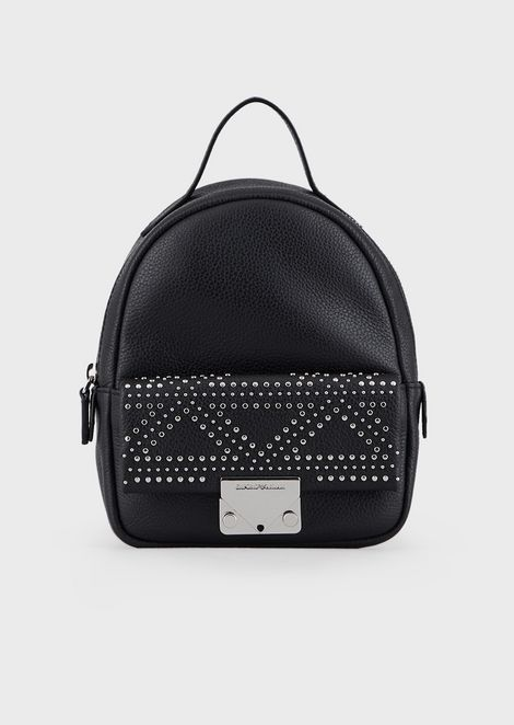 Leather backpack with appliqué studs