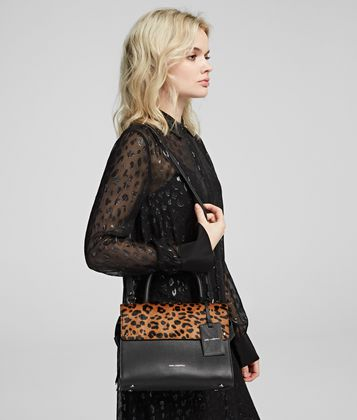 KARL LAGERFELD K/IKON SMALL LEOPARD TOP HANDLE BAG