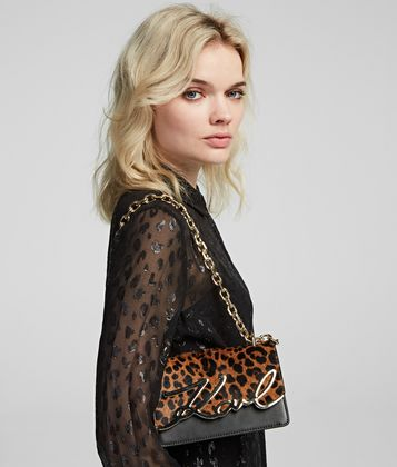 KARL LAGERFELD K/SIGNATURE LEOPARD SMALL SHOULDER BAG