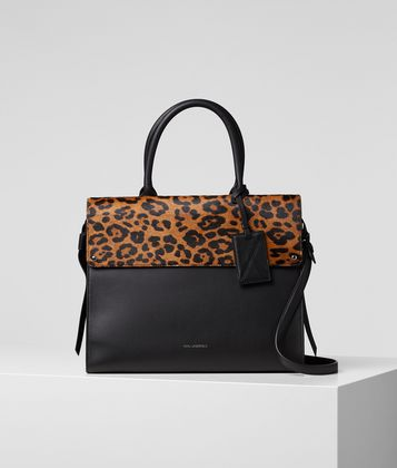 KARL LAGERFELD K/IKON LEOPARD TOP HANDLE BAG