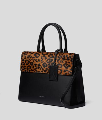 KARL LAGERFELD K/IKON LEOPARD TOP-HANDLE BAG