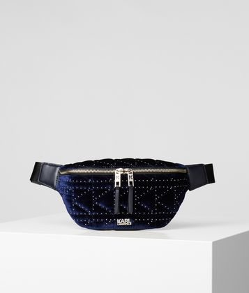 KARL LAGERFELD K/KUILTED STUDS VELVET BELT BAG