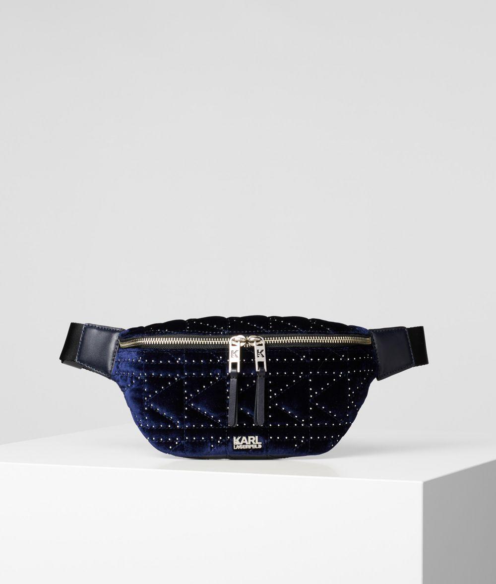 KARL LAGERFELD K/Kuilted Studs Velvet Belt Bag Fanny pack Woman f