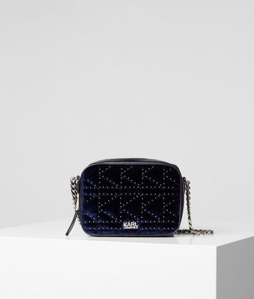 KARL LAGERFELD K/KUILTED STUDS VELVET CAMERA BAG