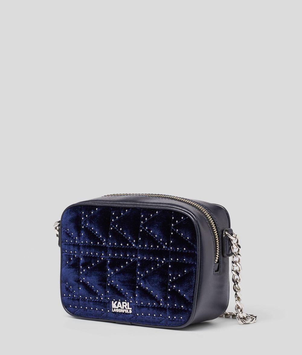 KARL LAGERFELD K/Kuilted Studs Velvet Camera bag Crossbody Bag Woman d