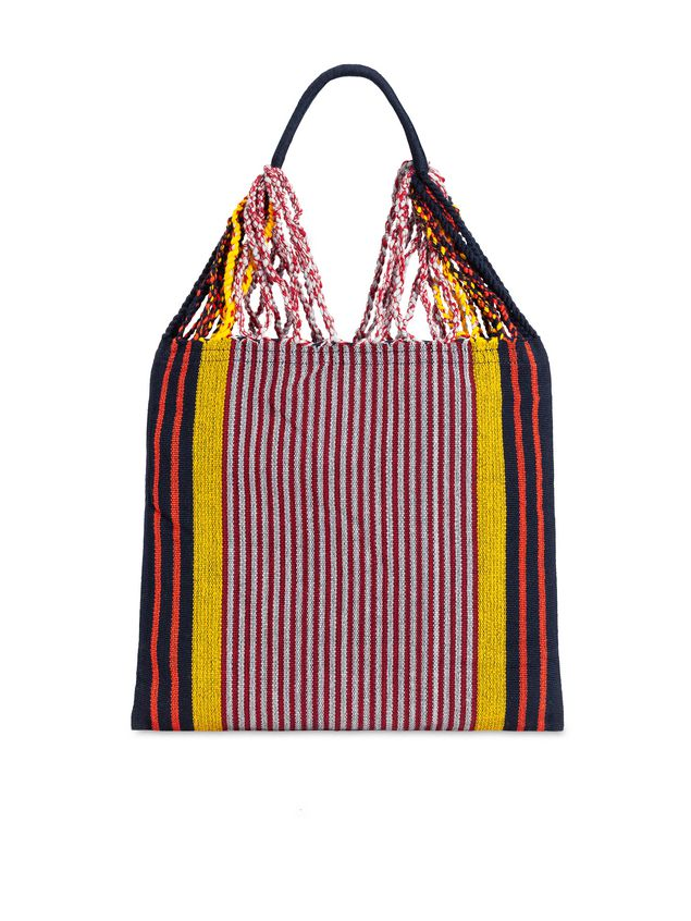 Marni MARNI MARKET shopping bag in polyester with hammock-style handle in black, yellow, gray and red Man