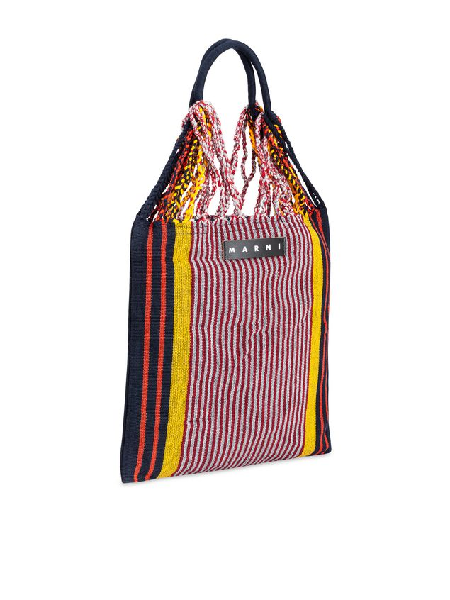 Marni MARNI MARKET shopping bag in polyester with hammock-style handle in black, yellow, gray and red Man - 2