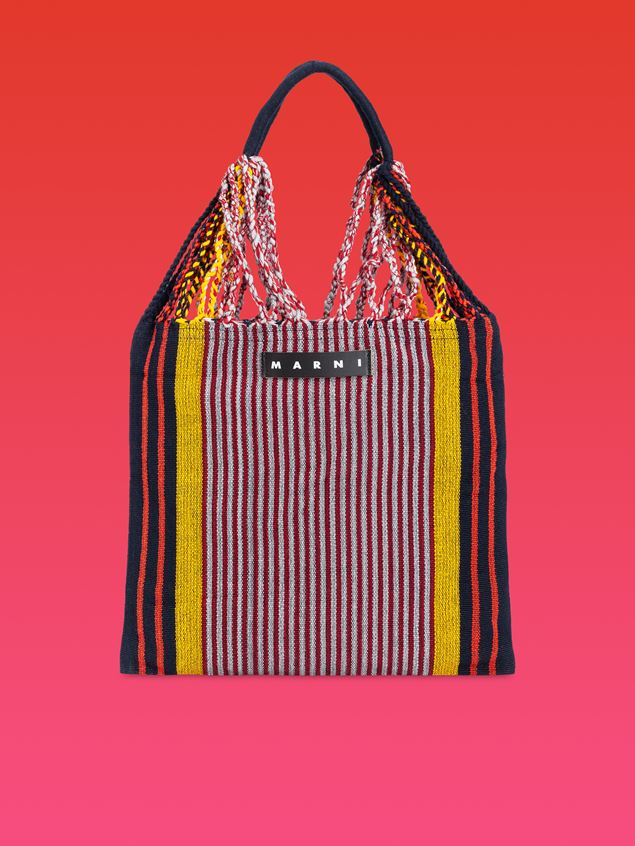 Marni MARNI MARKET shopping bag in polyester with hammock-style handle in black, yellow, gray and red Man - 1