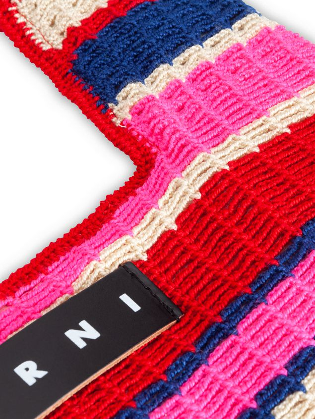 Marni MARNI MARKET shopping bag in acrylic-cotton blend with striped motif in pink, red, white and blue Man - 4