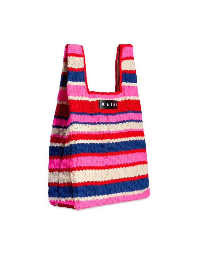 Marni MARNI MARKET shopping bag in acrylic-cotton blend with striped motif in pink, red, white and blue Man - 2