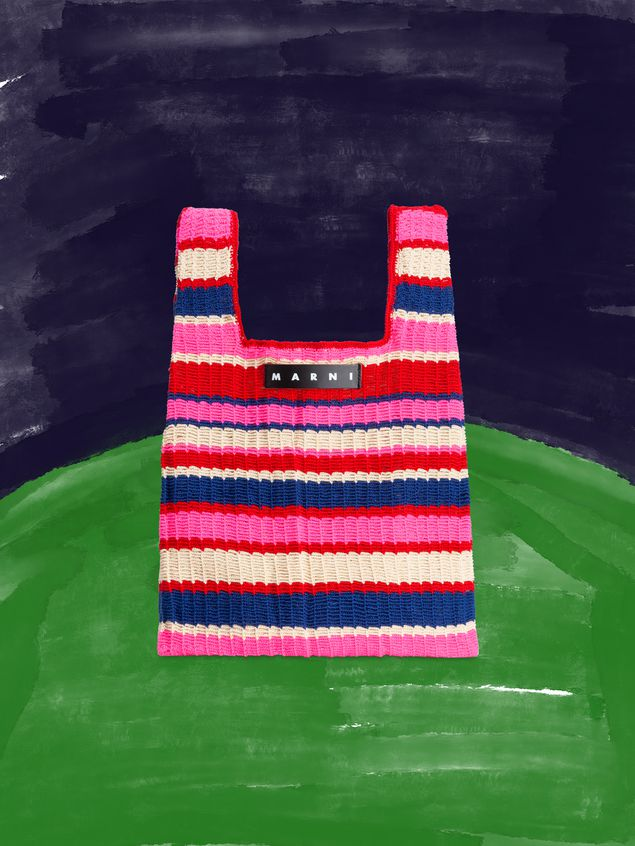 Marni MARNI MARKET shopping bag in acrylic-cotton blend with striped motif in pink, red, white and blue Man - 1