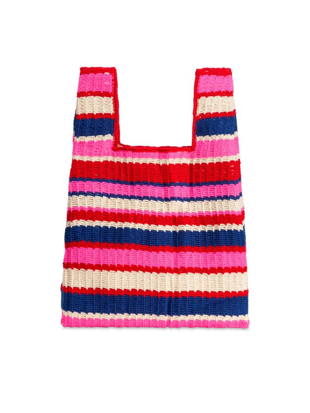 Marni MARNI MARKET shopping bag in acrylic-cotton blend with striped motif in pink, red, white and blue Man - 3