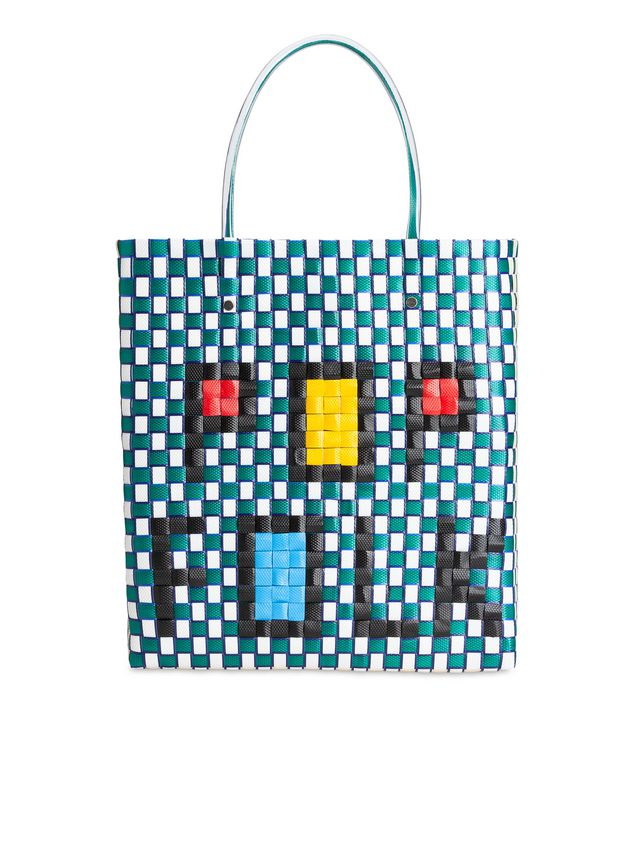 Marni Medium MARNI MARKET shopping bag in woven polypropylene with POP FOLK writing Man - 3