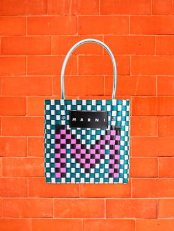Marni MARNI MARKET shopping bag in woven polypropylene with POP FOLK writing Man