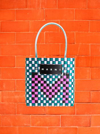 Marni MARNI MARKET shopping bag in woven polypropylene with POP FOLK writing Man f