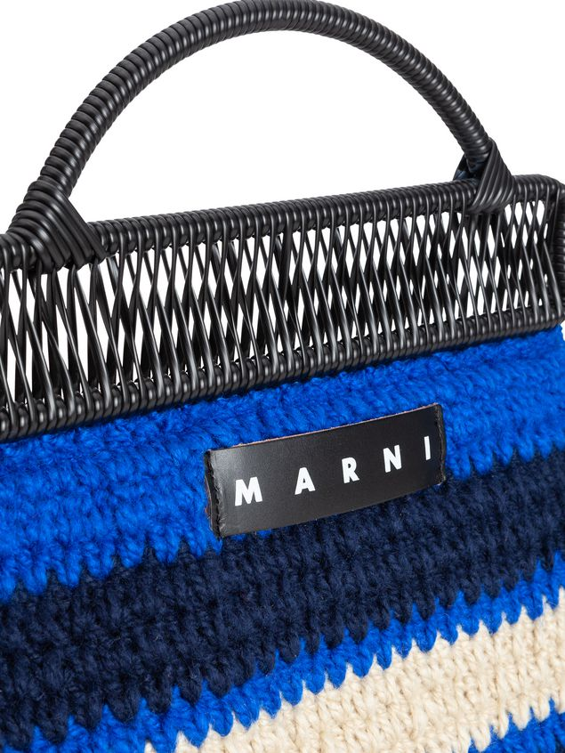 Marni MARNI MARKET frame bag in with striped crochet motif in dark blue, cornflower blue and white Man - 4